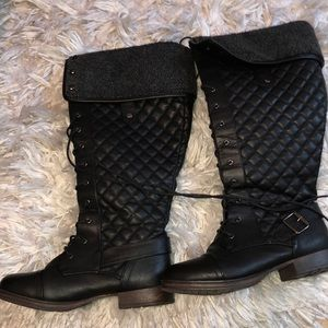 JustFab Black Lace Up Boots